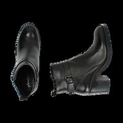 Ankle boots neri in pelle di vitello, tacco 6,50 cm , Primadonna, 16D808225VINERO038, 003 preview