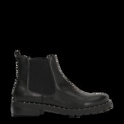 Chelsea Boots neri con tmini-borchie, Scarpe, 120682911EPNERO035, 001a