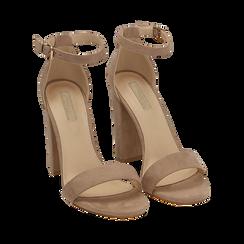 Sandali beige in microfibra, tacco 10,50 cm, Scarpe, 152706086MFBEIG035, 002a