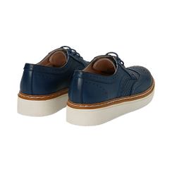 Stringate flatform blu in eco-pelle, Scarpe, 133009503EPBLUE036, 004 preview