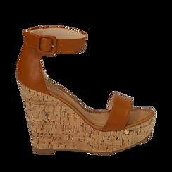 Sandali cuoio in eco-pelle, zeppa 12 cm , Scarpe, 154981001EPCUOI035, 001a