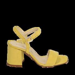 Sandalo giallo in microfibra, tacco 8 cm, Sandali con tacco, 136100006MFGIAL038, 001a