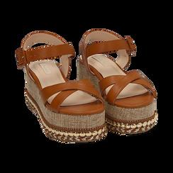 Sandali cuoio, zeppa 7 cm, Scarpe, 154960902EPCUOI, 002 preview