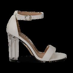 Sandali bianchi in eco-pelle, tacco plexi 10 cm , Sandali con tacco, 132708221EPBIAN035, 001a
