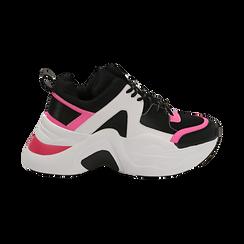 Dad shoes nero/fucsia in tessuto tecnico, zeppa 8 cm , Scarpe, 147580471TSNEFU035, 001 preview