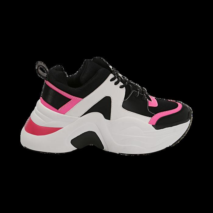 Dad shoes nero/fucsia in tessuto tecnico, zeppa 8 cm , Scarpe, 147580471TSNEFU035