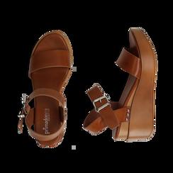 Sandali platform cuoio in eco-pelle, zeppa 7 cm, Primadonna, 132147321EPCUOI035, 003 preview