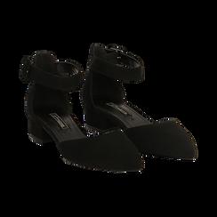 Décolleté nere in microfibra con cinturino alla caviglia, tacco 3,50 cm ,
