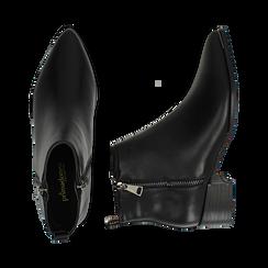 Camperos neri in eco-pelle , tacco 4,5 cm , Stivaletti, 144820534EPNERO036, 003 preview
