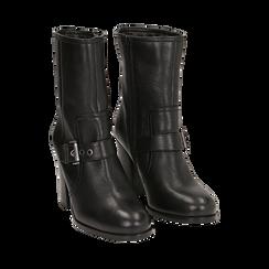Ankle boots neri in pelle, tacco 9 cm , Primadonna, 14F114002PENERO036, 002 preview