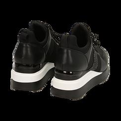 Sneakers nere in tessuto tecnico, zeppa 6 cm , Primadonna, 162801723TSNERO036, 004 preview