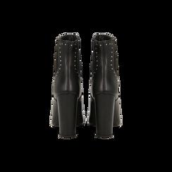Stivaletti Chelsea neri in vera pelle con mini-borchie, tacco 10 cm, Primadonna, 12D614310VINERO, 003 preview