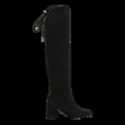 Stivali sopra il ginocchio neri scamosciati con coulisse, tacco 6,5 cm, Scarpe, 122707128MFNERO, 001 preview