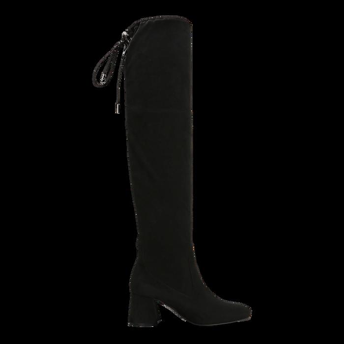 Stivali sopra il ginocchio neri scamosciati con coulisse, tacco 6,5 cm, Scarpe, 122707128MFNERO
