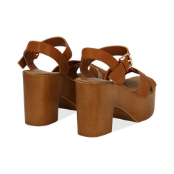 Sandali cuoio in eco-pelle, tacco 9 cm , Primadonna, 134987035EPCUOI037, 004 preview
