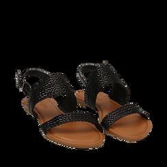 Sandali flat neri in eco-pelle intrecciata, Primadonna, 133600111EINERO035, 002a
