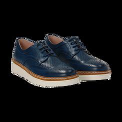 Stringate flatform blu in eco-pelle, Scarpe, 133009503EPBLUE036, 002 preview