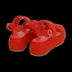 Sandali rossi in microfibra, zeppa 5 cm , Zapatos, 159790136MFCORA036, 004 preview