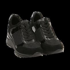 Sneakers nere glitter, zeppa 6 cm , Primadonna, 162801945GLNERO037, 002 preview