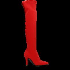 Stivali sopra il ginocchio rossi in lycra, tacco 10 cm, 122187852LYROSS036, 001a