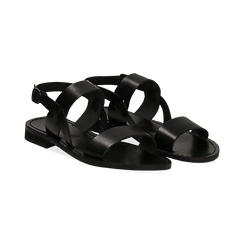 Sandali flat neri in pelle,