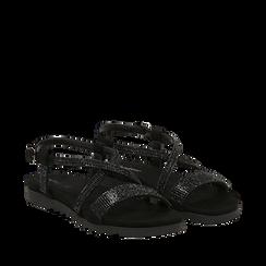 Sandali neri in microfibra con strass, Primadonna, 134922102MFNERO036, 002a