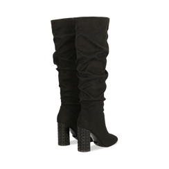 Stivali neri scamosciati con gambale drappeggiato, tacco alto 9,5cm, Primadonna, 124911102MFNERO, 004 preview