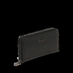 Portefeuille noir imprimé croco, Primadonna, 165122519CCNEROUNI, 002a