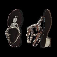 Sandali neri in microfibra con pietre, tacco 3,5 cm, Primadonna, 154927101MFNERO036, 003 preview