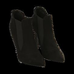 Ankle boots neri in microfibra, tacco 10,50 cm , Primadonna, 162123741MFNERO038, 002 preview