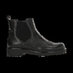 Chelsea Boots neri con lavorazione Duilio, Scarpe, 120800205EPNERO, 001 preview