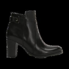 Tronchetti neri in vera pelle con cinturino, tacco 6 cm, Scarpe, 127718308PENERO, 001 preview