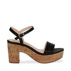 Sandali neri in eco-pelle, tacco in sughero 9 cm , Saldi Estivi, 138402256EPNERO035, 001a