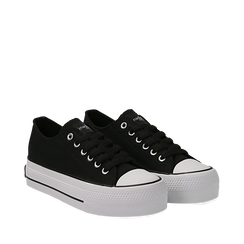 Sneakers bianche in canvas, platform 4 cm, Scarpe, 132619385CANERO036, 002a