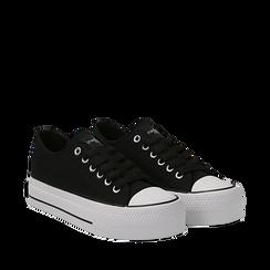 Sneakers bianche in canvas, platform 4 cm, Scarpe, 132619385CANERO035, 002a