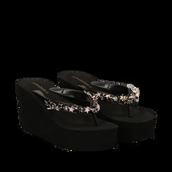 Zeppe infradito nere in pvc, zeppa 8,50 cm, Primadonna, 13C119507PVNERO035, 002a