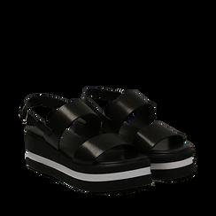 Sandali platform neri in eco-pelle, zeppa 5 cm , Scarpe, 132147512EPNERO035, 002a