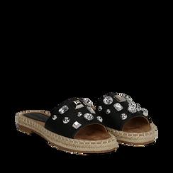 Mules espadrillas nere in eco-pelle con gemme, Saldi, 134900008EPNERO035, 002a