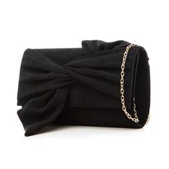 Pochette nera in microfibra con fiocco, Borse, 132300508MFNEROUNI, 004 preview