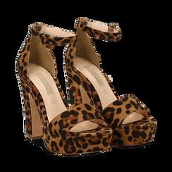 Sandali leopard in microfibra con plateau, tacco 13 cm, Sandali con tacco, 138404163MFLEOP035, 002a