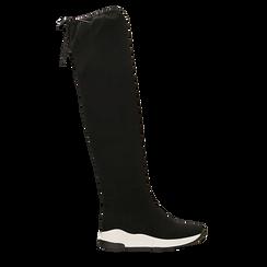 Sneakers overknee nere con suola bianca, 129367116MFNERO036, 001a