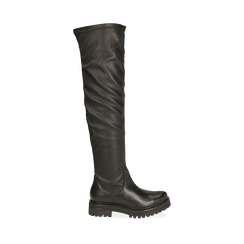 Stivali overknee flat neri in pelle di vitello , Scarpe, 149205004VINERO035, 001a