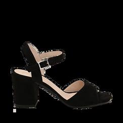Sandali neri in camoscio, tacco a colonna 8 cm, Saldi, 13D602015CMNERO035, 001a