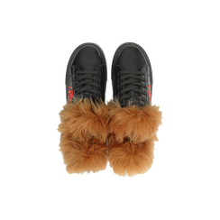Sneakers nere con ricami animalier e dettagli in faux-fur, Primadonna, 126102020EPNERO035, 004 preview