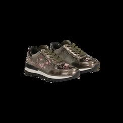 Sneakers taupe  con ricami floreali velluto, Scarpe, 121617734VLTAUP, 002 preview