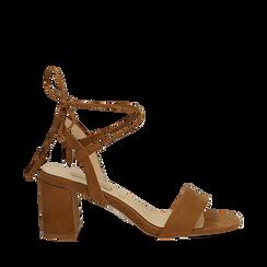 Sandali marroni in microfibra con laccetti alla caviglia, tacco quadrato 7,5 cm, Scarpe, 132127351MFMARR036, 001a
