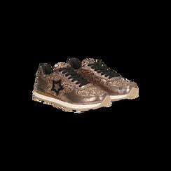 Sneakers bronzo dettagli glitter e metallizzati , Scarpe, 121308201GLBRON, 002 preview