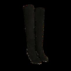 Botas oveknee negro en microfibra, tacón 9 cm, Primadonna, 162183365MFNERO036, 002a
