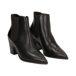 Camperos a punta neri in eco-pelle, tacco 7 cm , Scarpe, 141785496EPNERO036, 002 preview