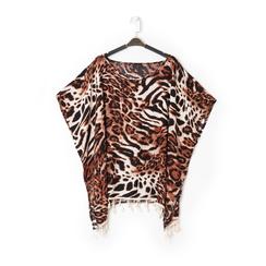 Poncho leopard marrone in tessuto , Abbigliamento, 13B445069TSLEMAUNI, 001a